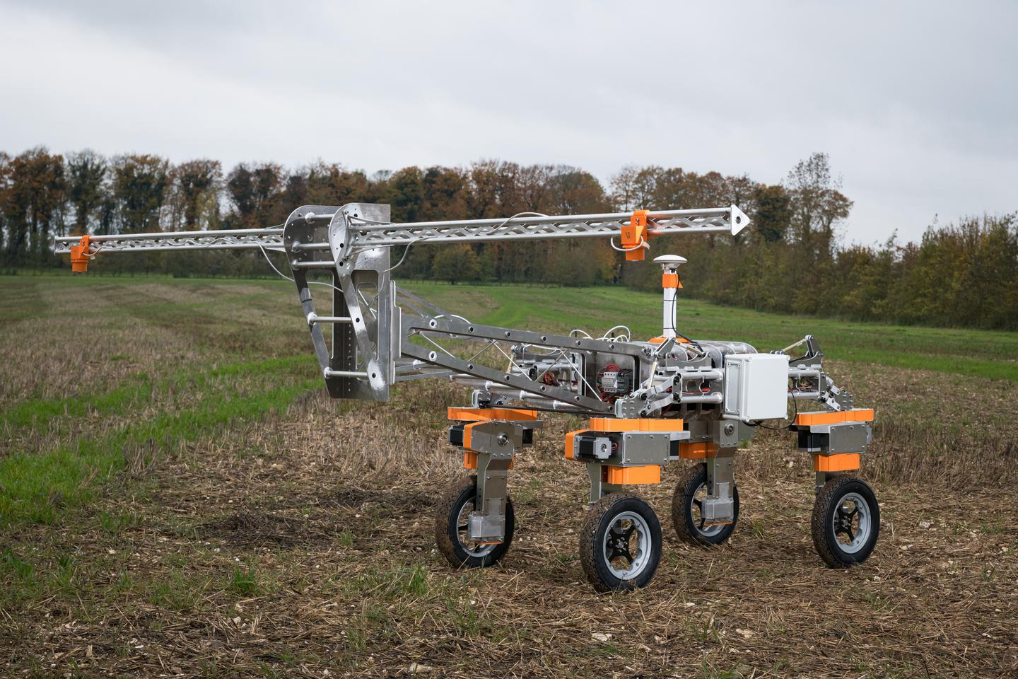 Tom is a weed-mapping robot, covering up 20 hectares (50 ac) a day using autonomous navigation and an onboard camera to tell plants from weeds at a sub-millimeter resolution