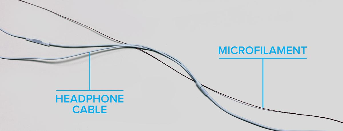 CyPhy Works' microfilament compared to a headphone cable