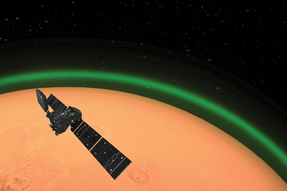An artist's rendition of the Trace Gas Orbiter detecting a green glow in the atmosphere of Mars