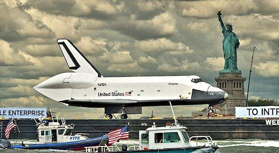 Space Shuttle Enterprise making its way through Jamaica Bay by barge (Photo: NASA)