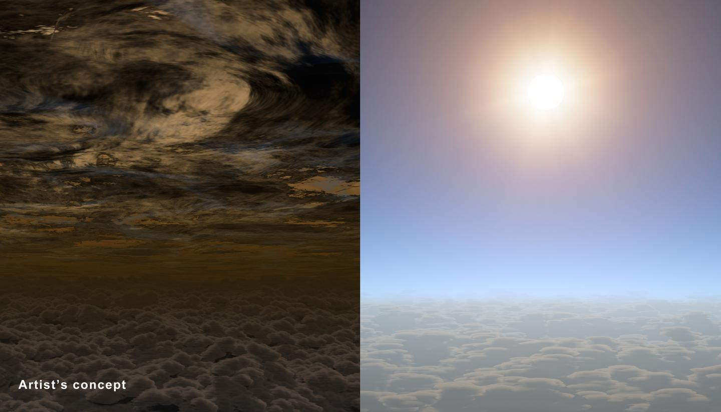 Artist's concept comparing the atmosphere of exoplanet HAT-P-11b (right) and how other exoplanets seen until now may look (left) (Image: NASA/JPL-Caltech)