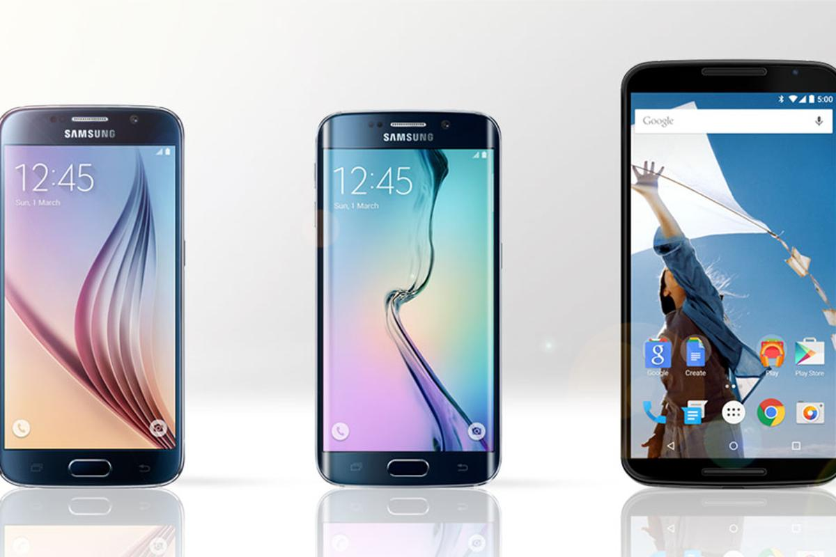 Gizmag compares the features and specs of the Samsung Galaxy S6 (left), Galaxy S6 edge (middle) and Google/Motorola Nexus 6