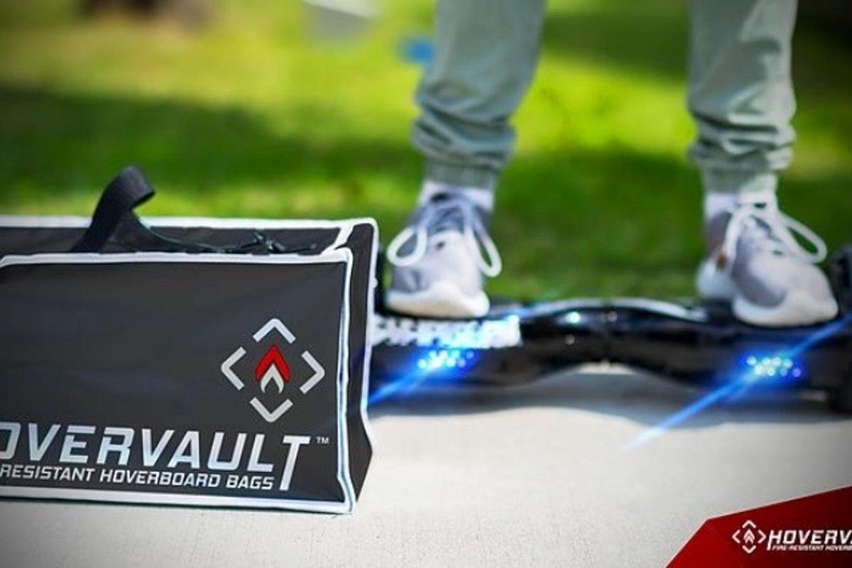The Hovervault helps prevent fire damage caused by faulty lithium-ion batteries in hoverboards