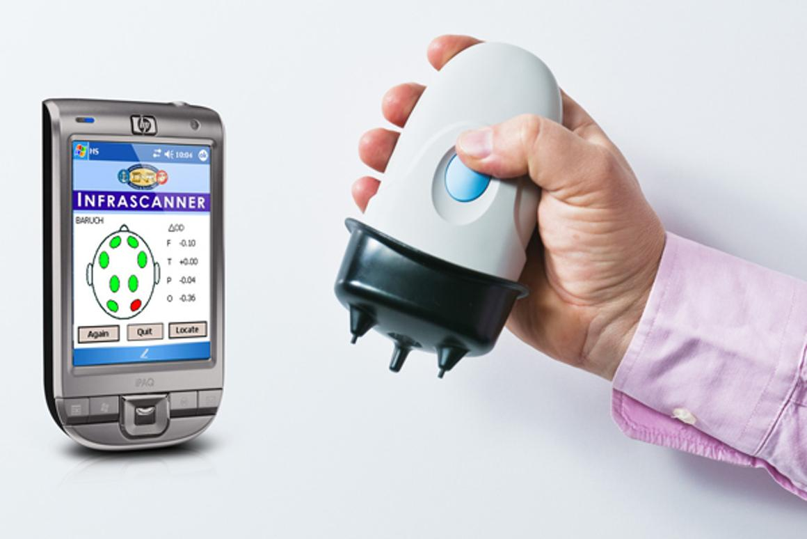 The Infrascanner hand-held hematoma detector and its PDA interface