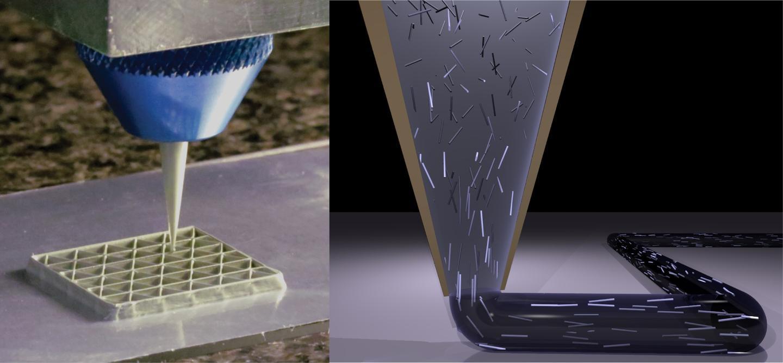 3D printing of a triangular honeycomb composite (Image: Harvard University)