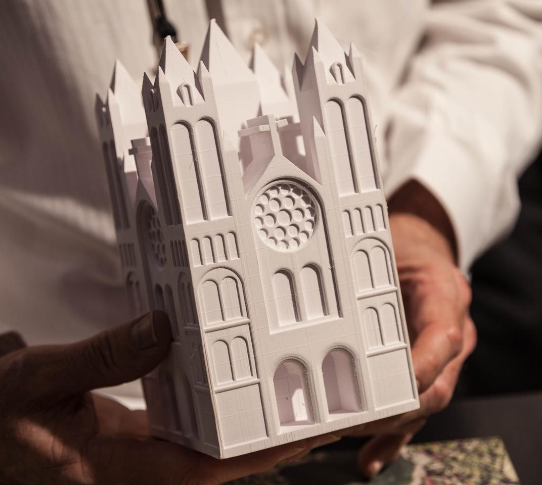 Uncolored model printed in the Mcor IRIS machine (Photo: Loz Blain)