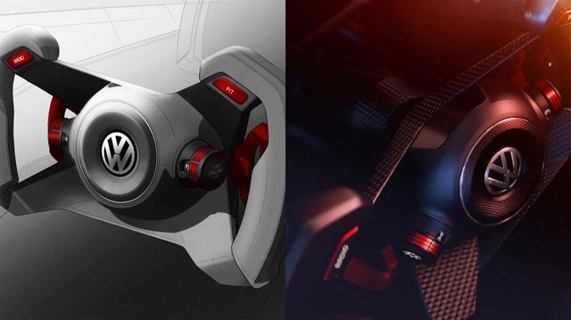 Rendering of the VW GTI Roadster Vision Gran Turismo steering wheel