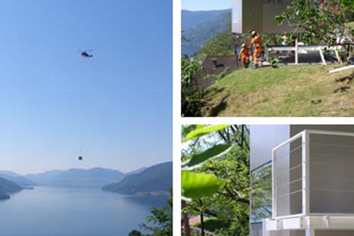 The micro-dwelling was flown in via helicopter to accommodate the owner's last minute visiting guest