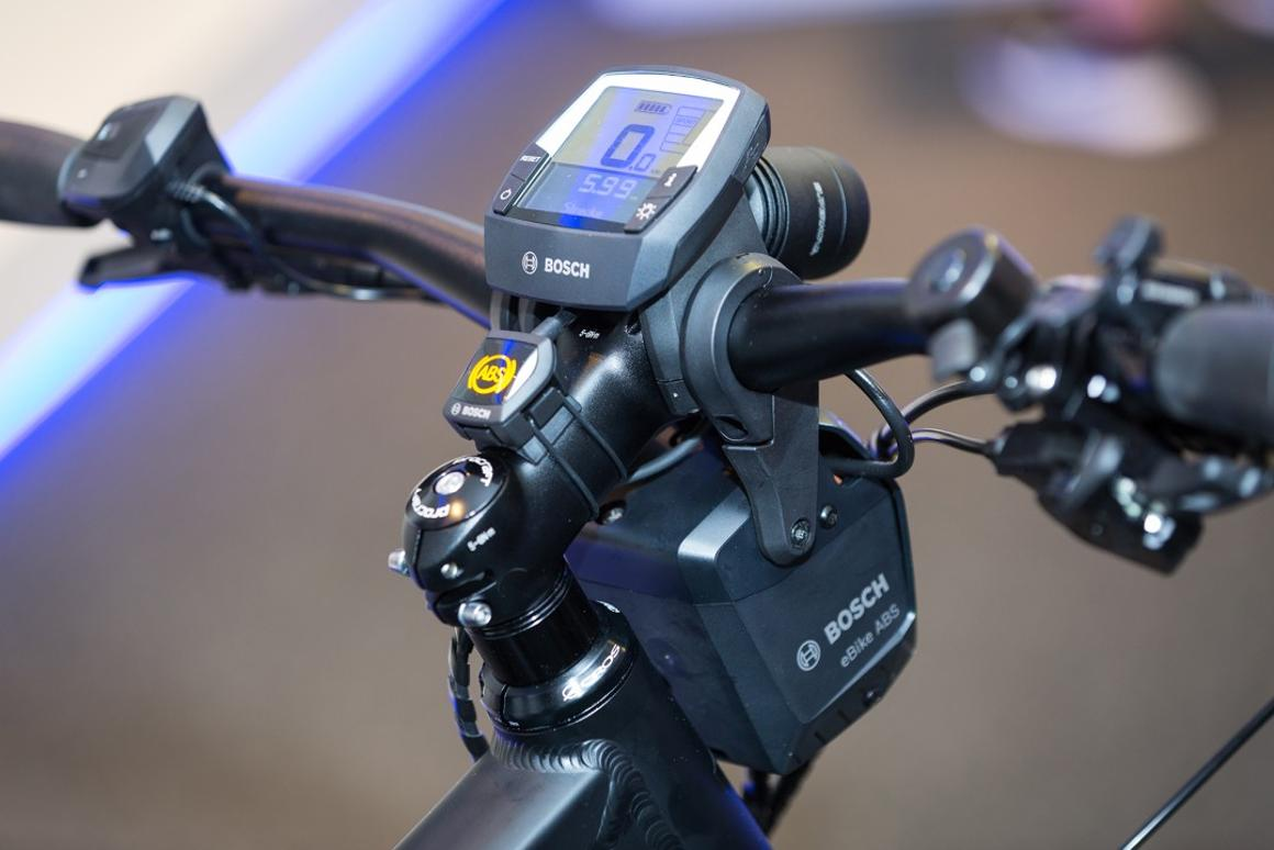 The Bosch eBike ABS front brake activation module, visible beneath the handlebar stem