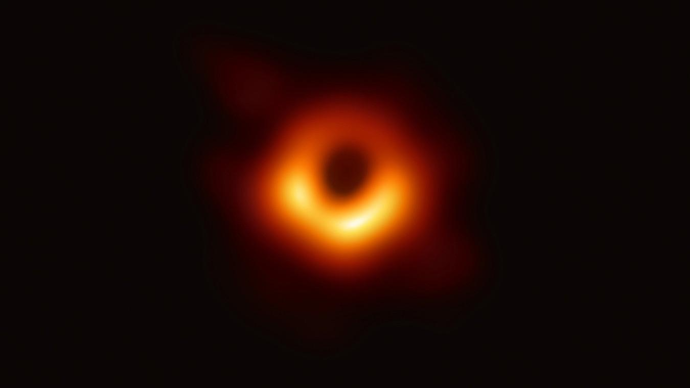 The first direct image of a black hole, as produced by the Event Horizon Telescope collaboration