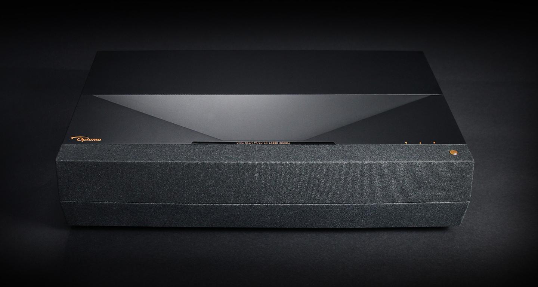 The Optoma P1Smart 4K UHD Laser Cinema projector features an integrated NuForce soundbar