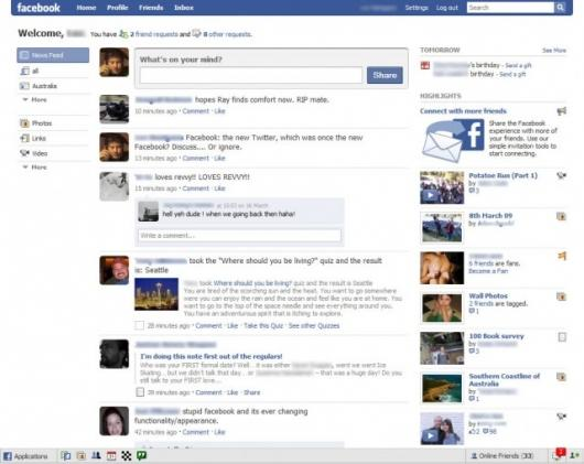 The new facebook homepage
