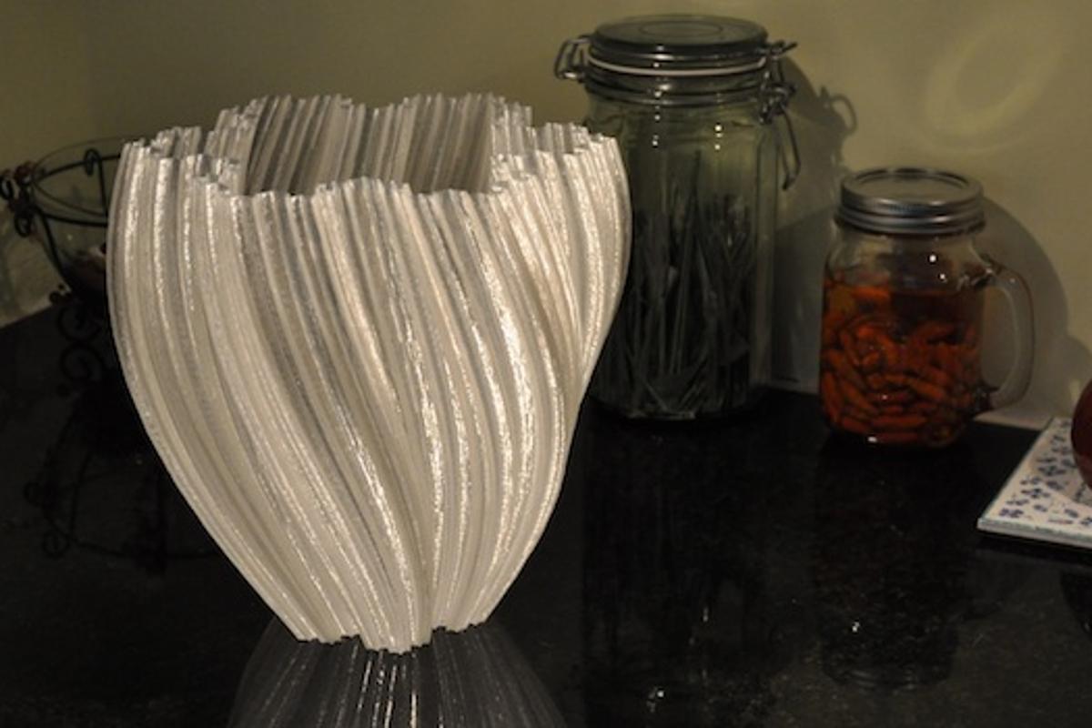 A 3D-printed vase showcases the large build envelope of the Gigabot, re:3D's large format 3D printer