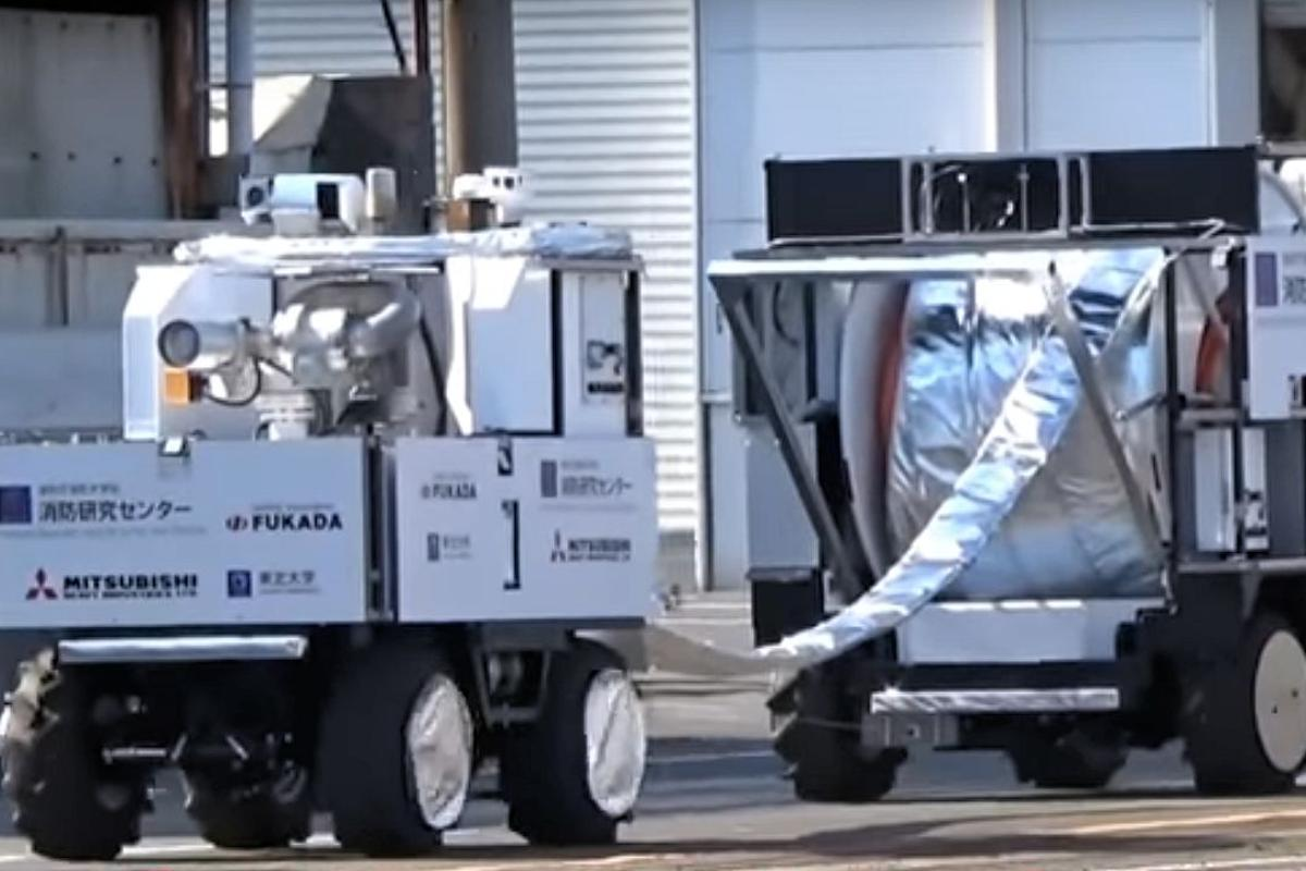 The Water Cannon Robot and Hose Extension Robot have been designed to self-drive to blaze locations inaccessible to human firefighters