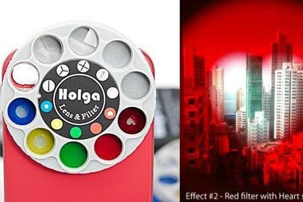 Holga has introduced an iPhone case equipped with a rotating wheel, offering nine different special effects lens filters for the smartphone's built-in camera