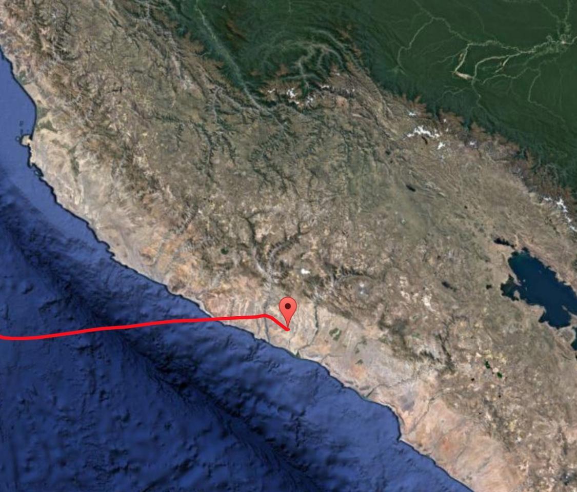 The Super Pressure Balloon's landing point near the coastline of Peru