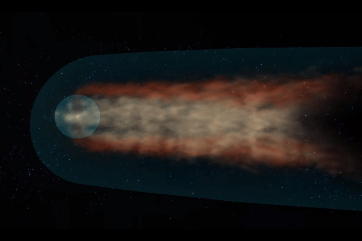 A representation of our heliosphere traveling through the interstellar medium to produce a heliotail that has been mapped by IBEX for the first time (Image: NASA/Goddard)