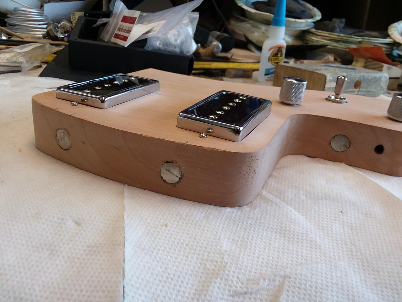 The tonewood module is home to the pickups, wiring, tone and volume controls, pickup selector and output jack