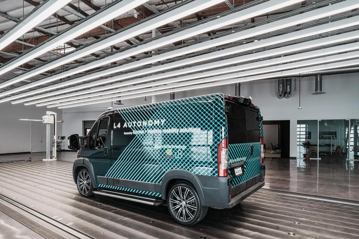 Karma foreshadows the autonomous electrified van of the future by detailing its L4 E-Flex Van platform, shown here on a Ram Promaster/Fiat Ducato