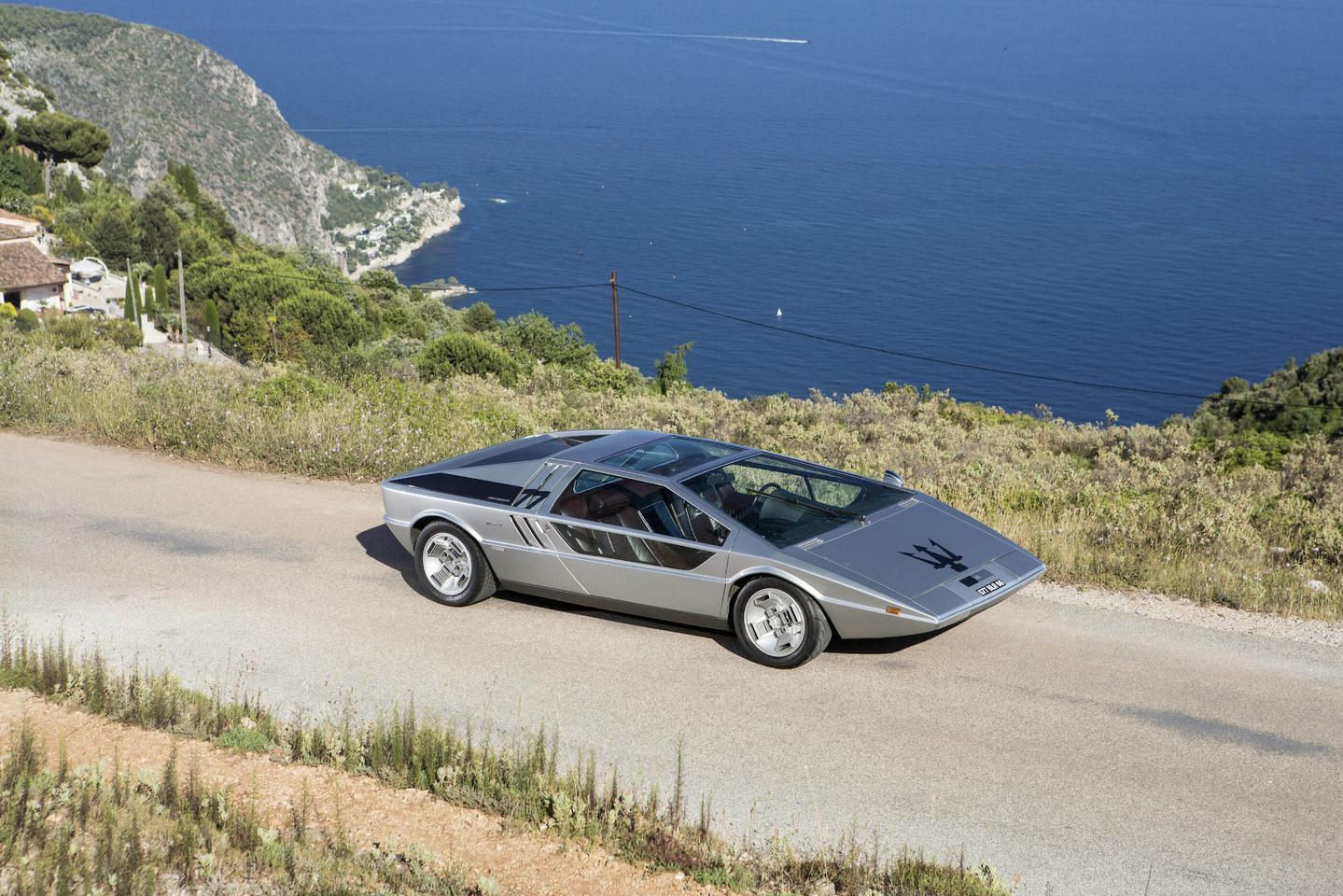 The outrageous, wedge-shaped styling of the Maserati Boomerang influenced many early 70s supercars
