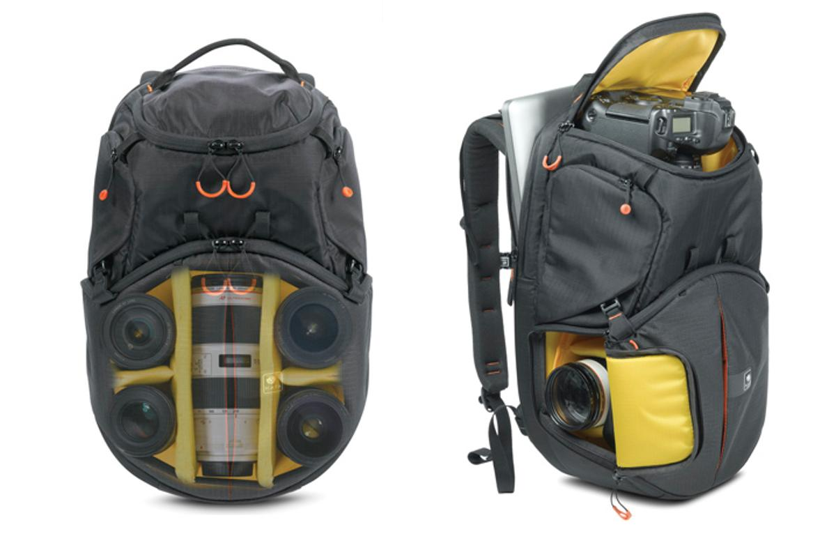 The Kata Revolver-8 backpack stores a DSLR camera and up to five lenses in a rotating internal chamber for quick and easy access