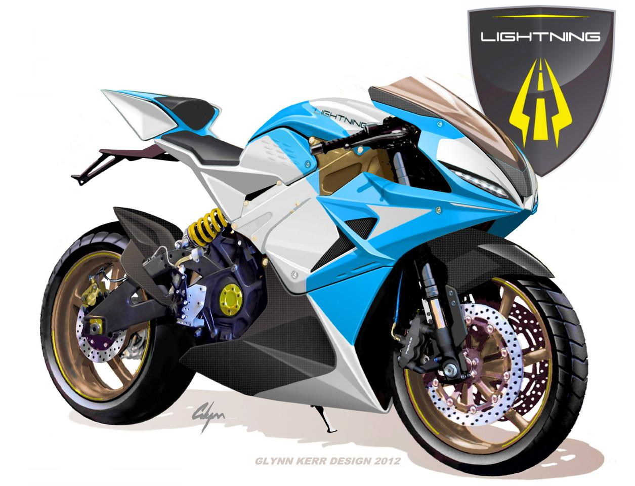 The Lightning Electric Superbike concept drawing by Glenn Kerr (Photo: Lightning Motorcycle Corp.)