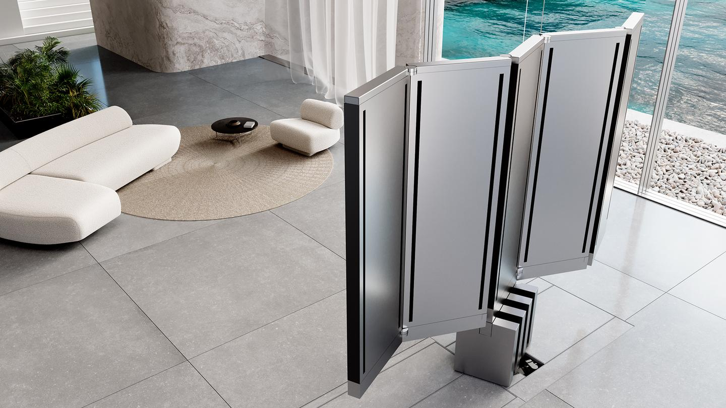 Five panels unfold to create a 165 diagonal inch MicroLED 4K TV screen