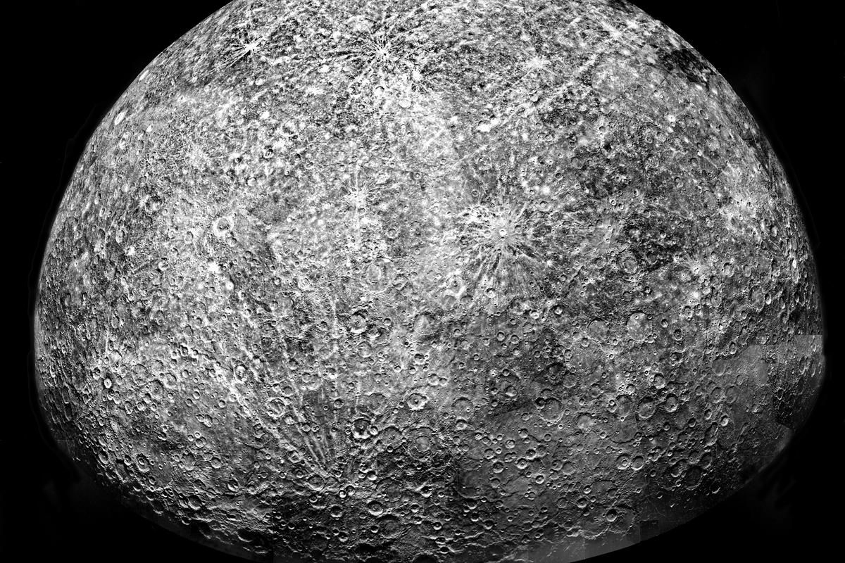 A mosaic of Mercury stitched together from images captured by the Mariner 10 spacecraft in the 1970s