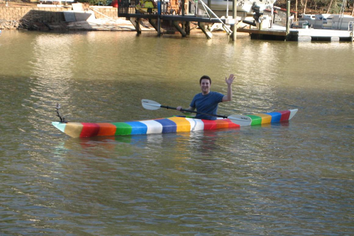 Jim Smith on the water in his 3D-printed kayak