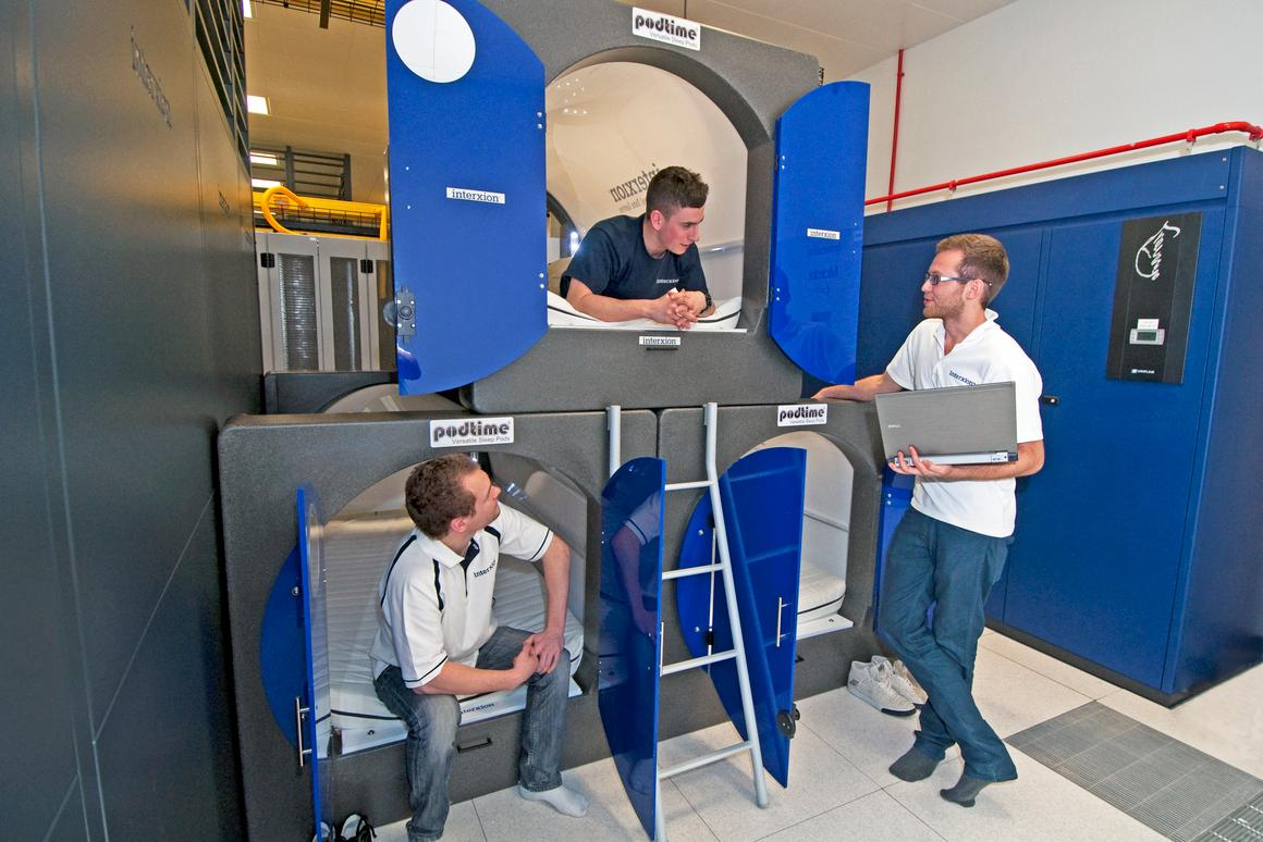 Data center operator Interxion has installed five Podtime sleeping pods at its London data center campus to help maintain staffing levels during the upcoming Olympics