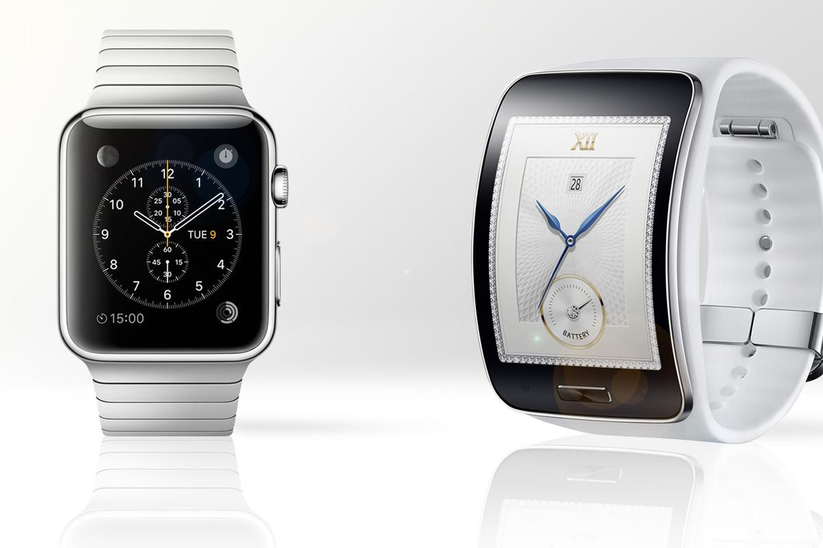 Gizmag compares the features and specs of the Apple Watch (left) and Samsung Gear S smartwatches
