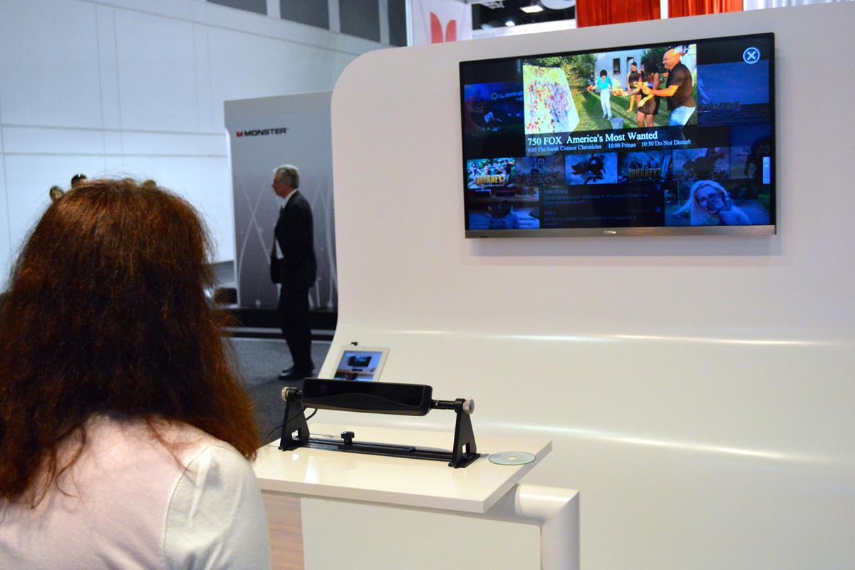 Haier's prototype TV, with its eye-tracking sensor bar in the foreground