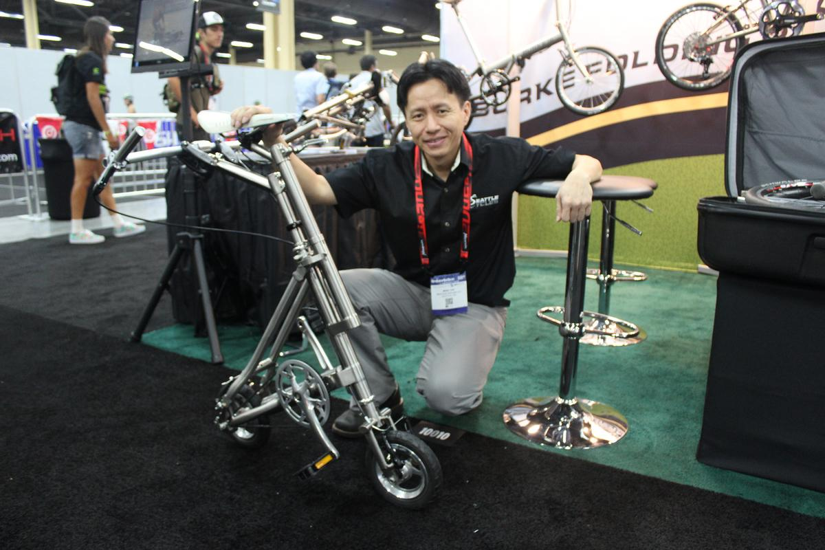 Mike Yap with his Burke 8 at Interbike 2015
