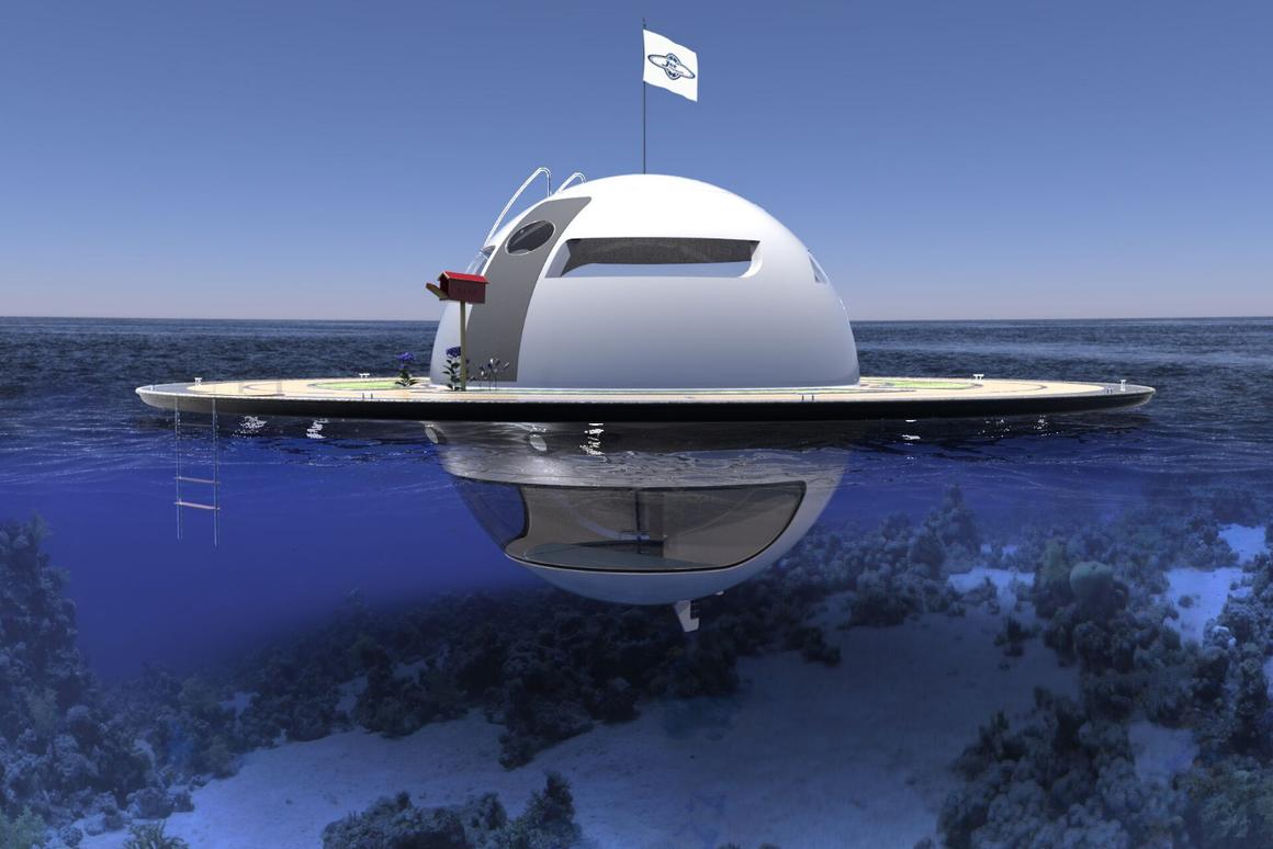 The UFO floating home concept from mini yacht-maker Jet Capsule offers a completely off-grid existence