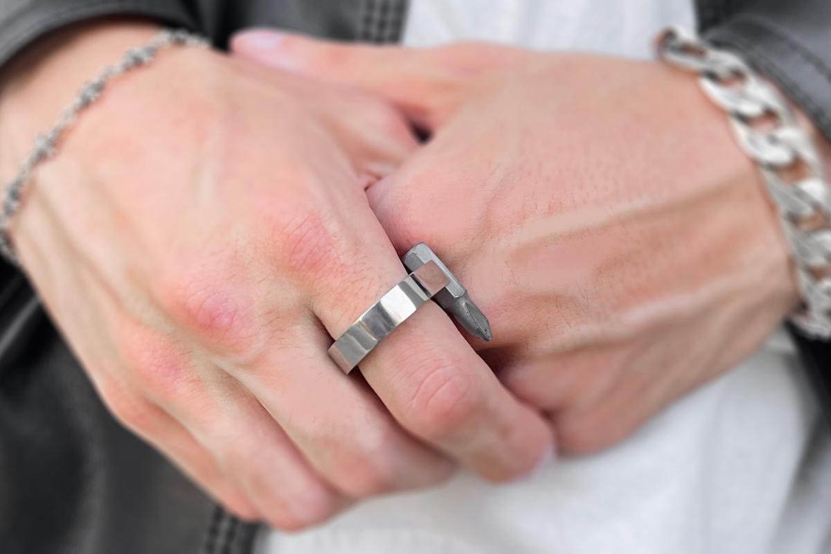 The Tool Ring is a stylish multi-tool, pen and flashlight