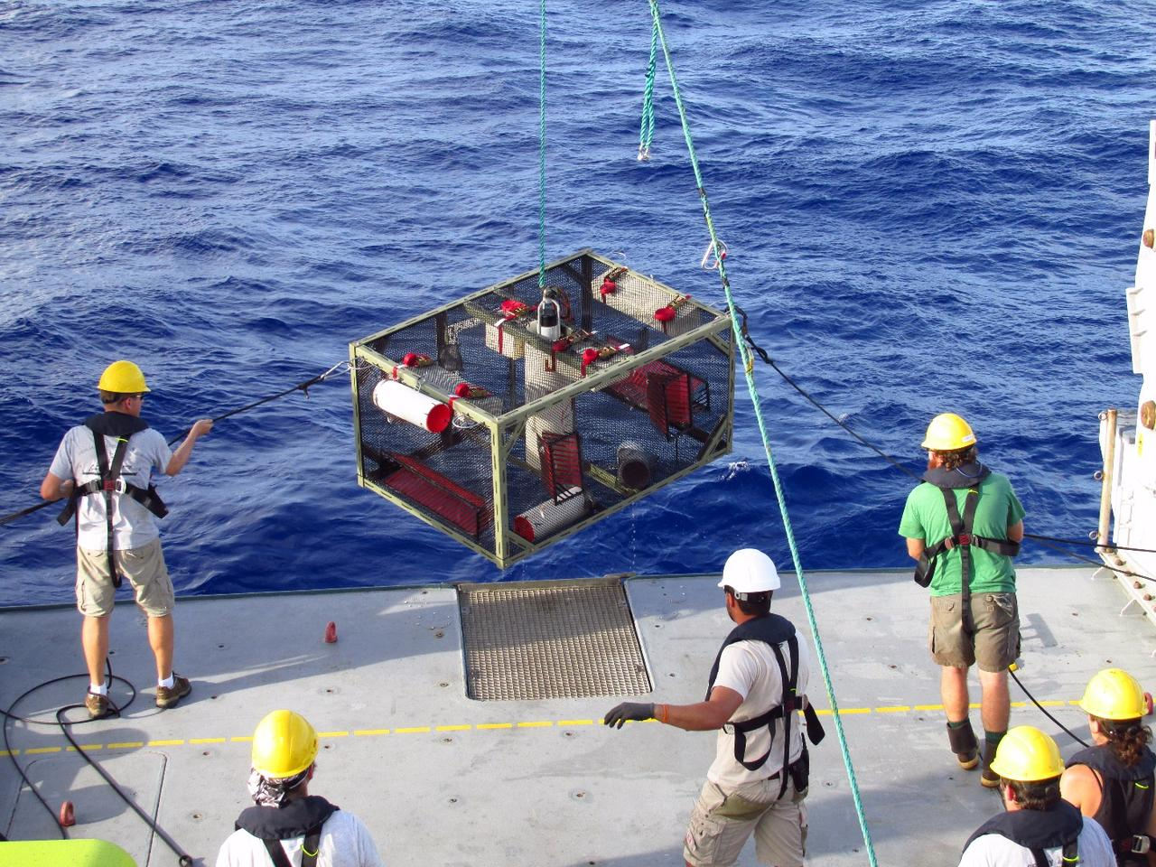 The researchers recover a trap from the Mariana Trench