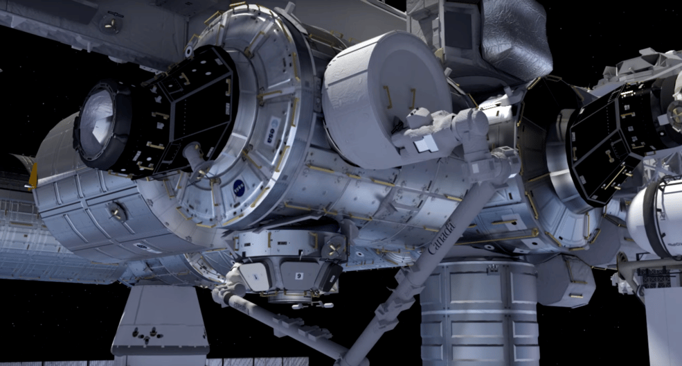 Computer rendering of BEAM being installed on the ISS