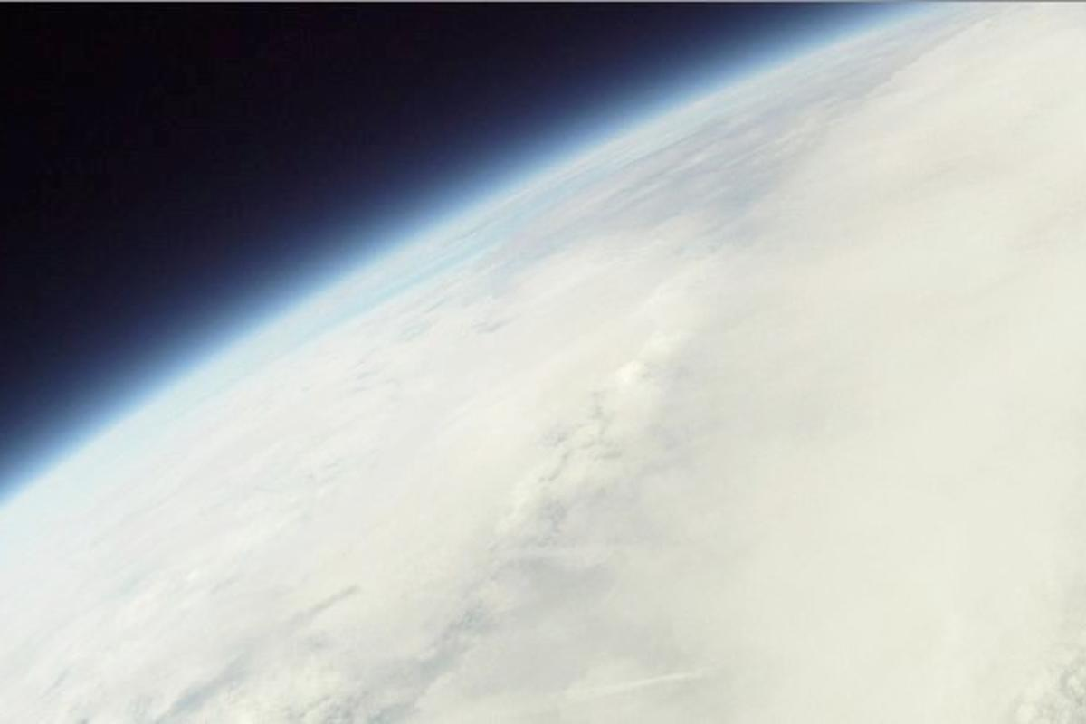 An image of the earth and the blackness of outer space, obtained by Luke and Max Geissbuhler