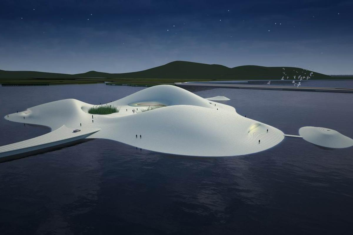 The Pingtan Art Museum will be situated on an artificial island connected to Pingtan Island by an undulating pier