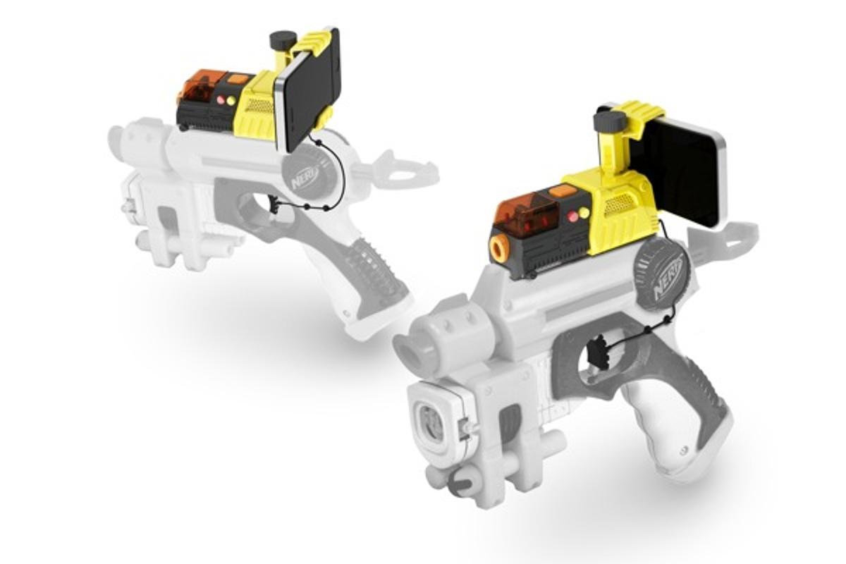The pistol grip can be detached to fit the AppTag's sensor and trigger to almost any toy gun with an accessory rail