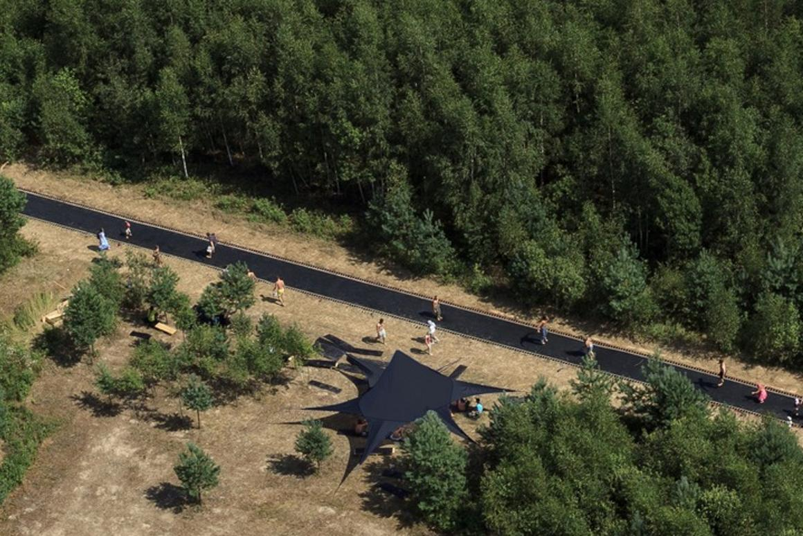 "The ""Fast Track"" trampoline road stretches across 51 meters (167 ft)"
