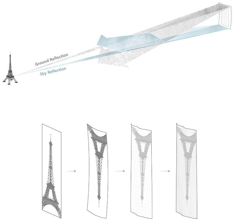 The concept behind the concave mirror facade