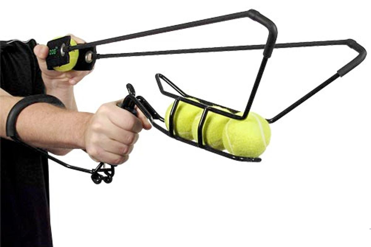 The Hyperdog 4-Ball Launcher can fire a tennis ball up to 200ft and has hands-free pick up for 'used' balls