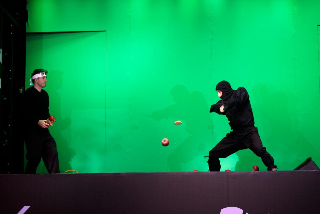 A live game of Fruit Ninja - with real fruit and a sword-wielding martial artist