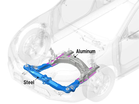 A diagram of an Accord subframe made using the new welding process