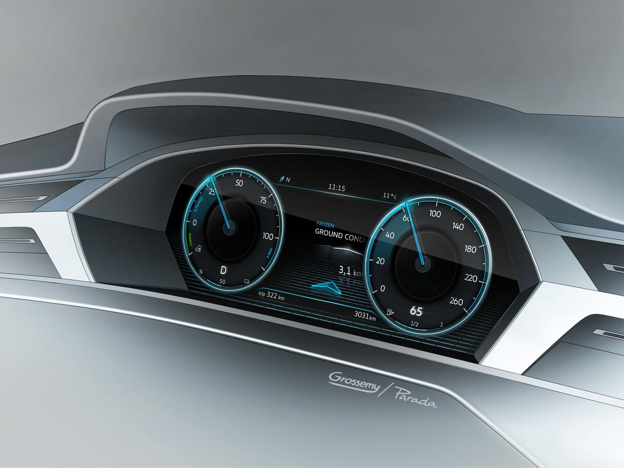 "A VW rendering of the ""3D appearance"" dash of the Sport Coupe Concept GTE"