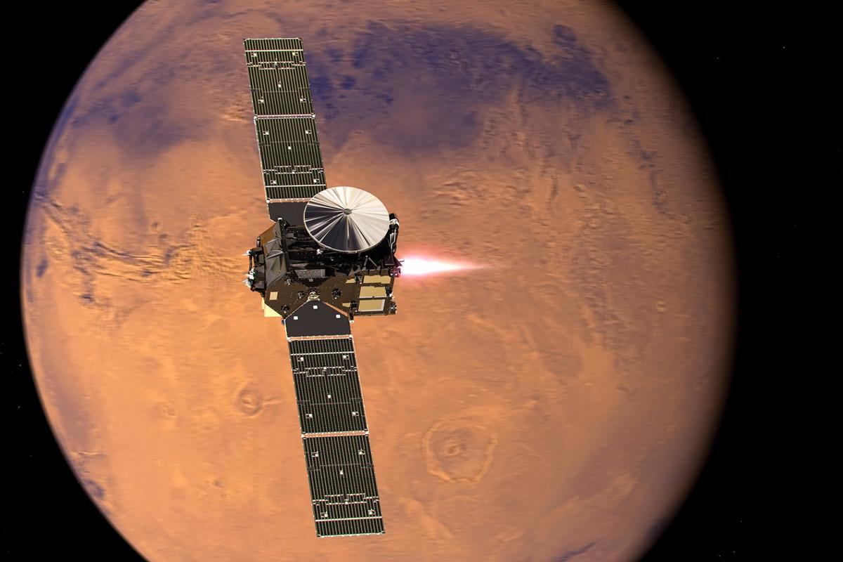 Artist's impression of the ExoMars 2016 Trace Gas Orbiter, with its thrusters firing, beginning its entry into Mars orbit on 19 October 2016