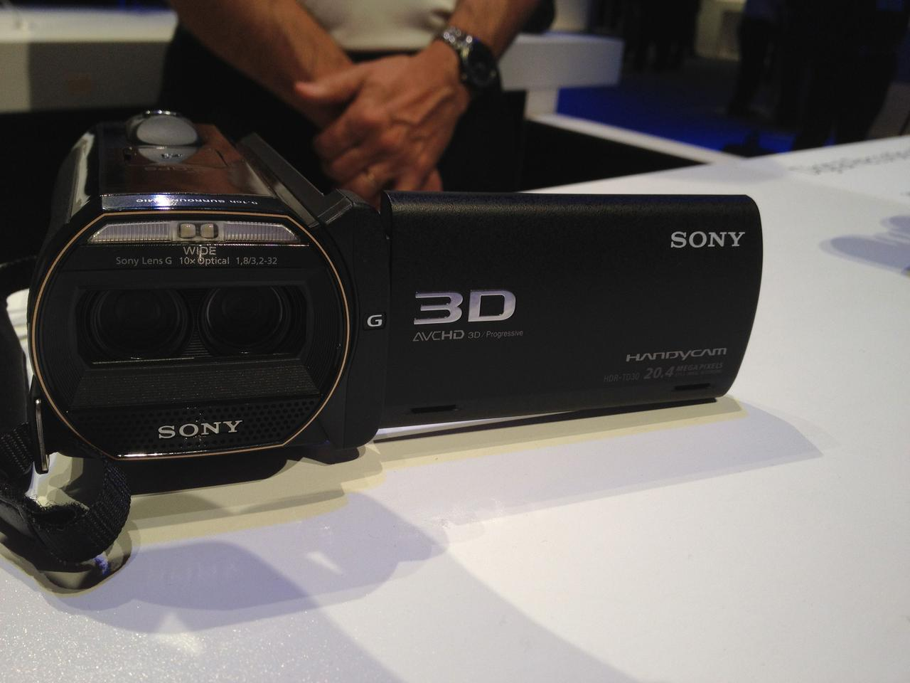 Sony's new HDR-TD30V camcorder on the CES 2013 show floor