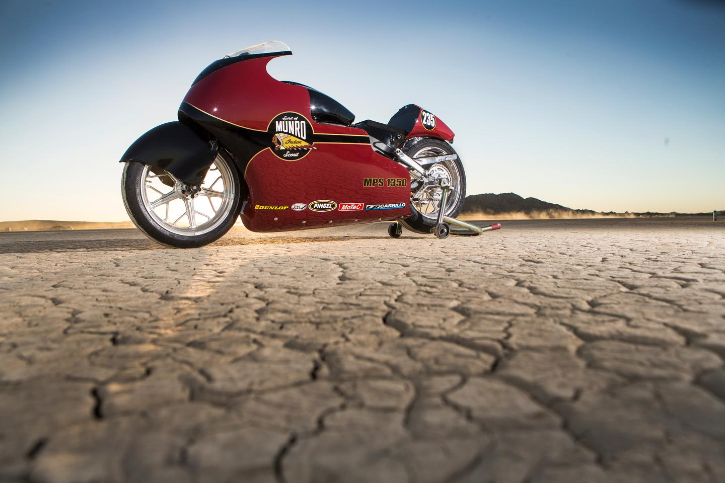The Indian Scout Streamliner at El Mirage, California