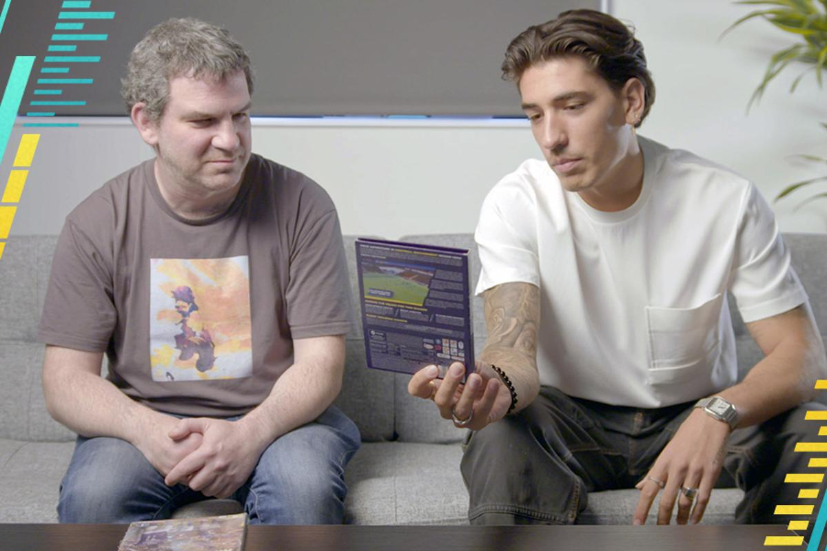 Sports Interactive director Miles Jacobson and Hector Bellerin with the company's recyclable game packaging